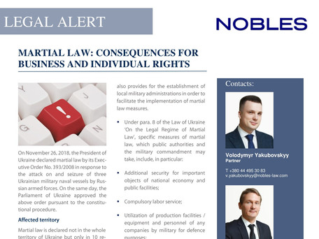 LEGAL ALERT: MARTIAL LAW: CONSEQUENCES FOR BUSINESS AND INDIVIDUAL RIGHTS