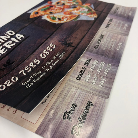 Pizza menu with over flap