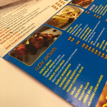 Three fold menu with variable size folds
