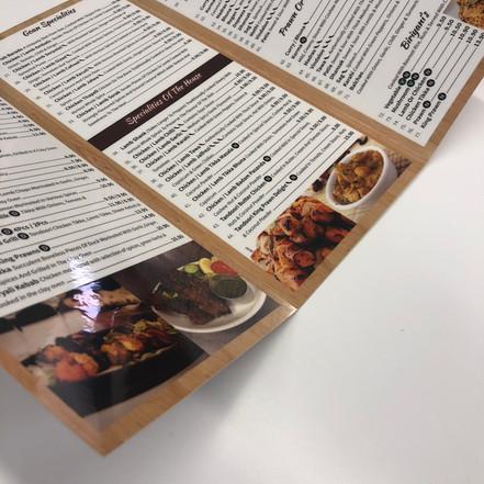 3 fold laminated menu