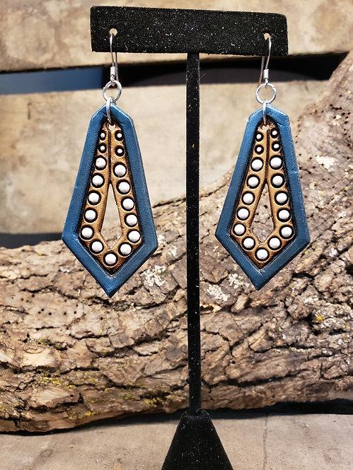 Blue Stamped earrings