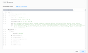 JSON view of data model