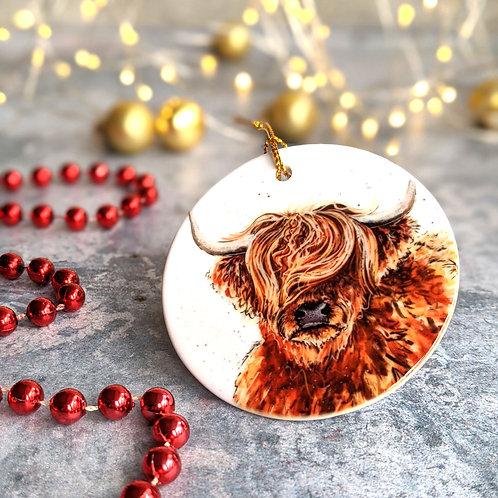 Highland Coo Christmas Decoration