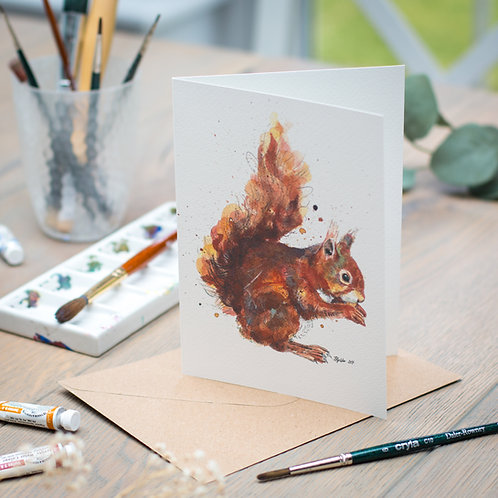 'Nibbles' Red Squirrel Card