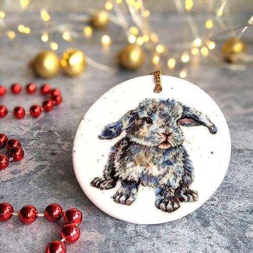 Blue Bunny Christmas Decoration
