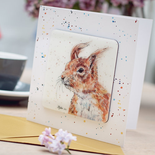 Red Squirrel Coaster Card