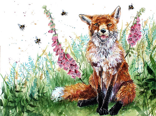 'Bee Happy' Original Fox Painting