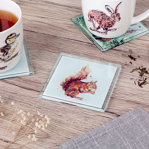 'Nibbles' Squirrel Glass Coaster