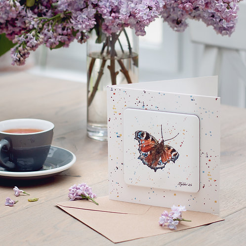 Peacock Butterfly Coaster Card