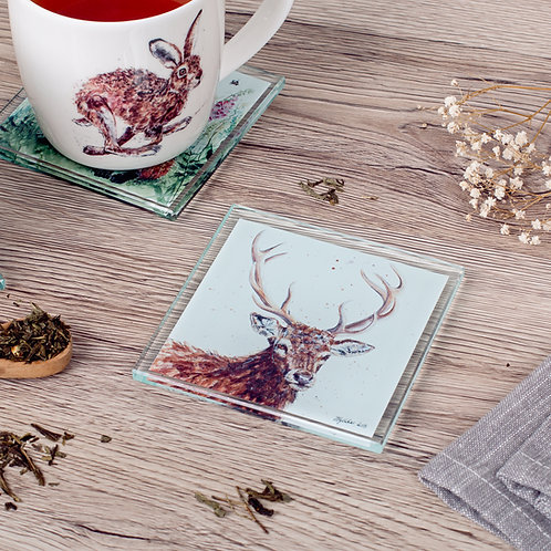 'Rowan' Stag Glass Coaster