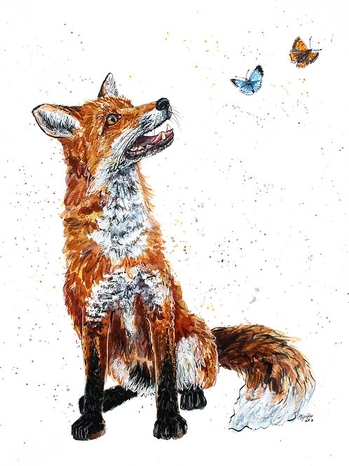 'Buttercup' Original Ink and Watercolour Fox Painting
