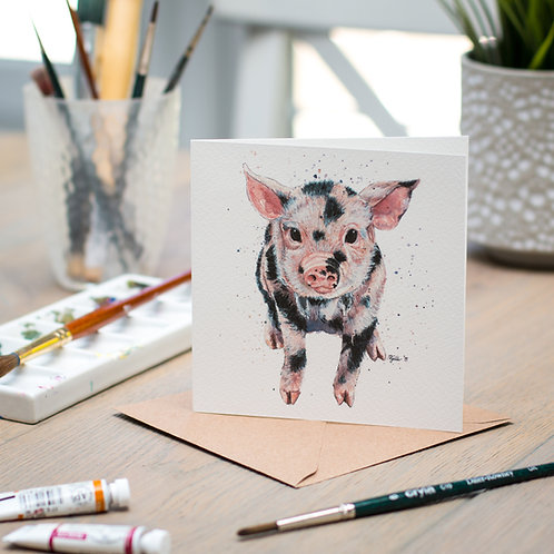 'Squiggles' Piglet Card