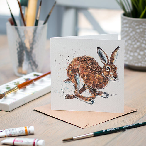'Haring Off' Hare Card
