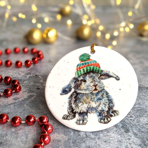 Woolly Bunny Christmas Decoration