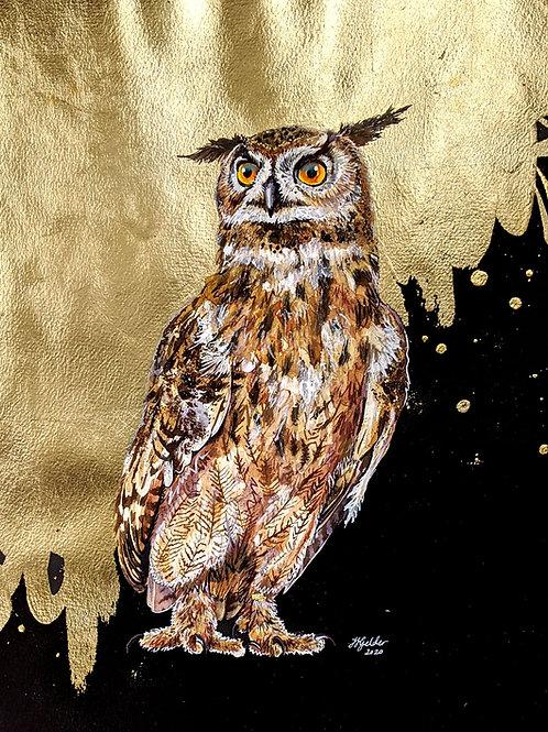 'Basil Fowlty' Original Owl Painting