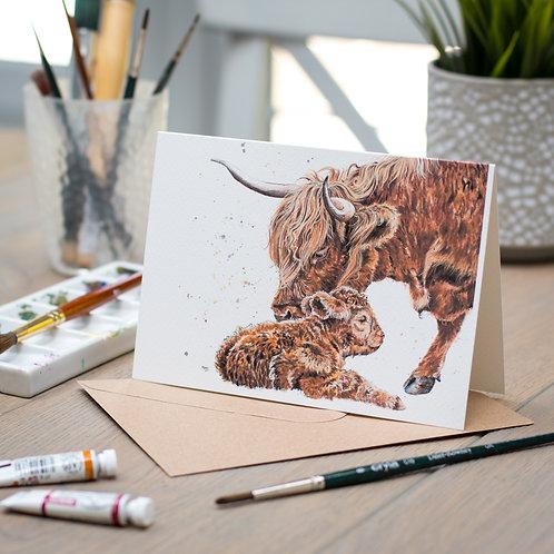 'A Tender Moo' Highland Cow Card