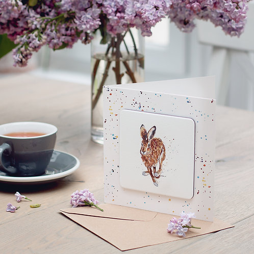 'Running Hare' Coaster Card