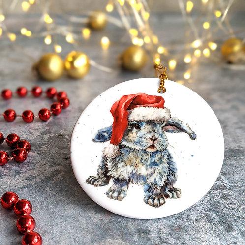 Santa Hat Bunny Christmas Decoration