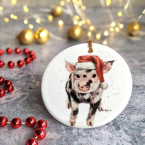 Santa Piggy Christmas Decoration