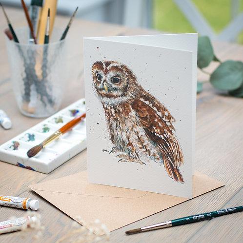 'Amber' Tawny Owl Card