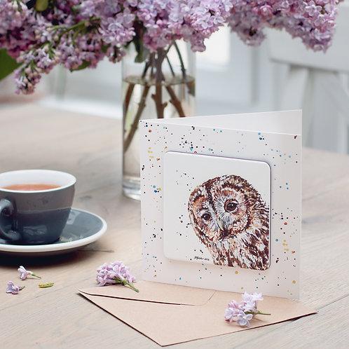 Tawny Owl Coaster Card