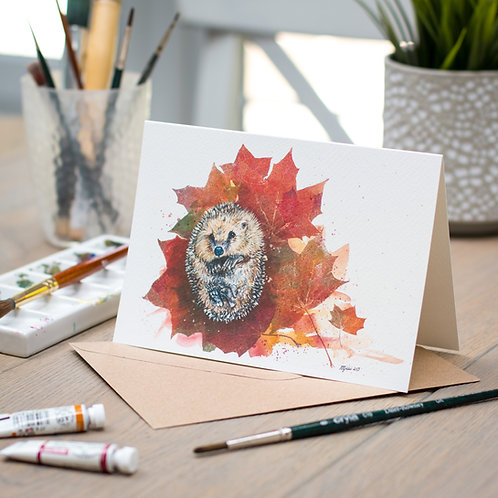 'Autumnal Snuggles' Hedgehog Card