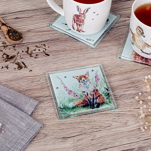 Fox and Foxgloves Glass Coaster