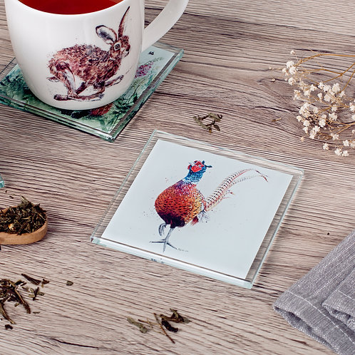 'Shake Your Tailfeathers' Pheasant Glass Coaster