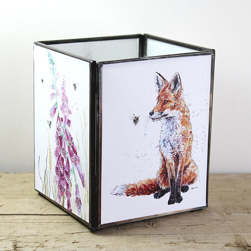 Large Fox and Foxgloves Tealight