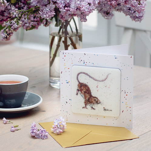 'Little Gymnast' Mouse Coaster Card