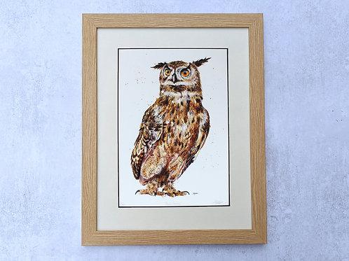 'Basil Fowlty' Eagle Owl Limited Edition Giclée Print