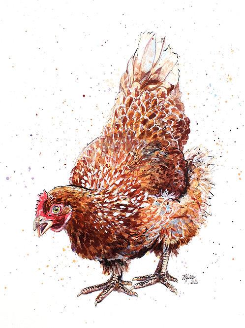 'Edna' Original Ink and Watercolour Chicken