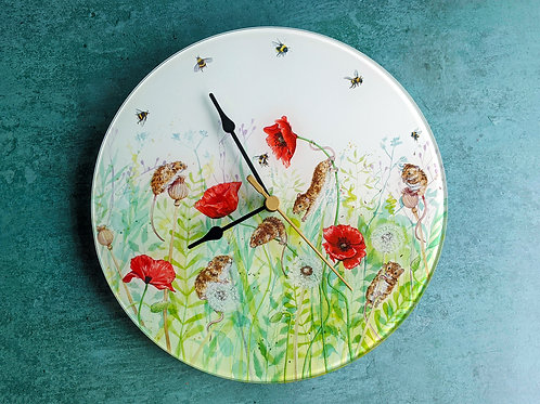 Mice in Poppies Glass Clock