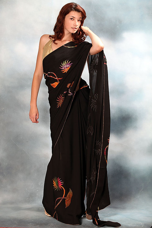 Black Saree (Multi-color work)