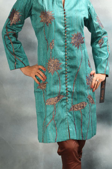Teal Applique Work Salwar Suit