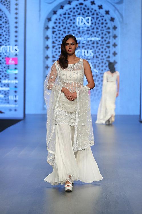 White Sequin Sari