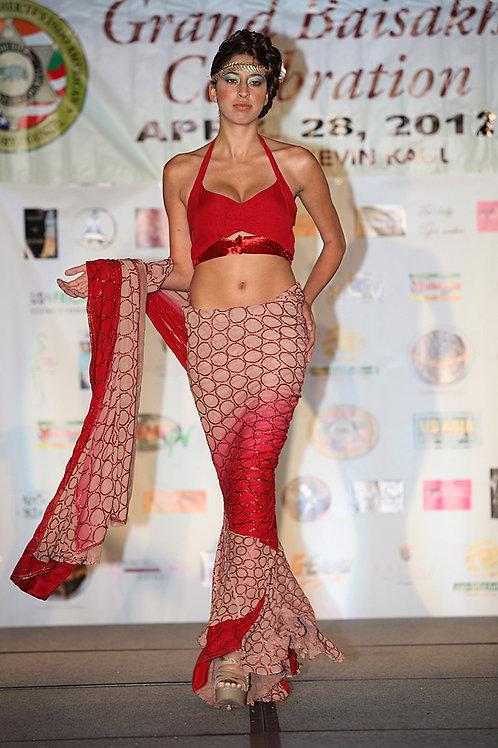Red Wrap Saree