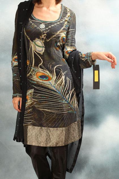 Peacock Wing Black Salwar Suit