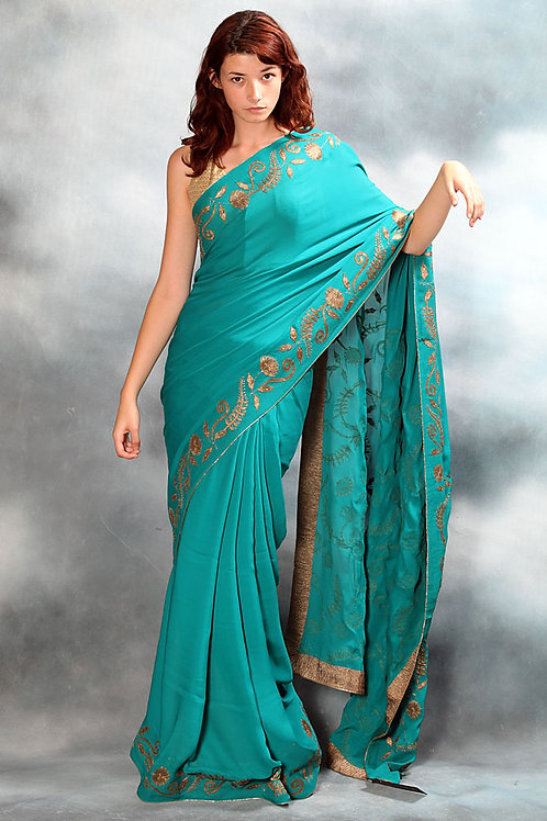 Teal Old Vintage Saree with Gold Embroidery