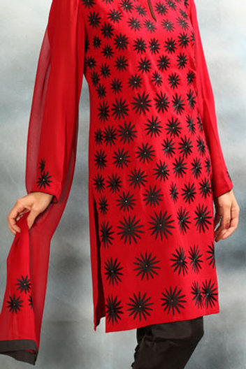Black and Red Salwar Suit