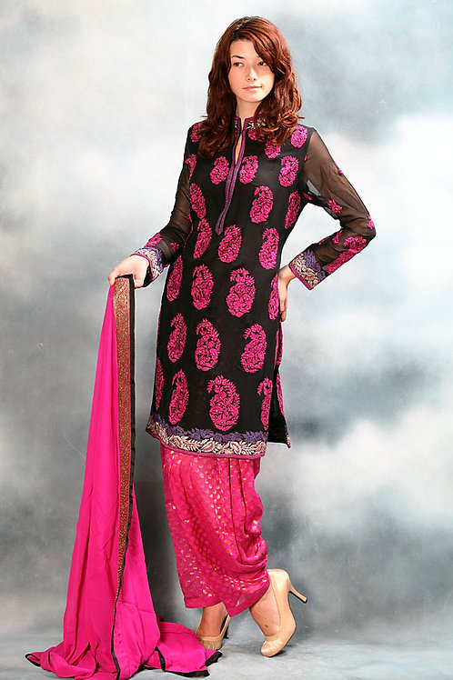 Black and Rani-Pink Salwar Suit