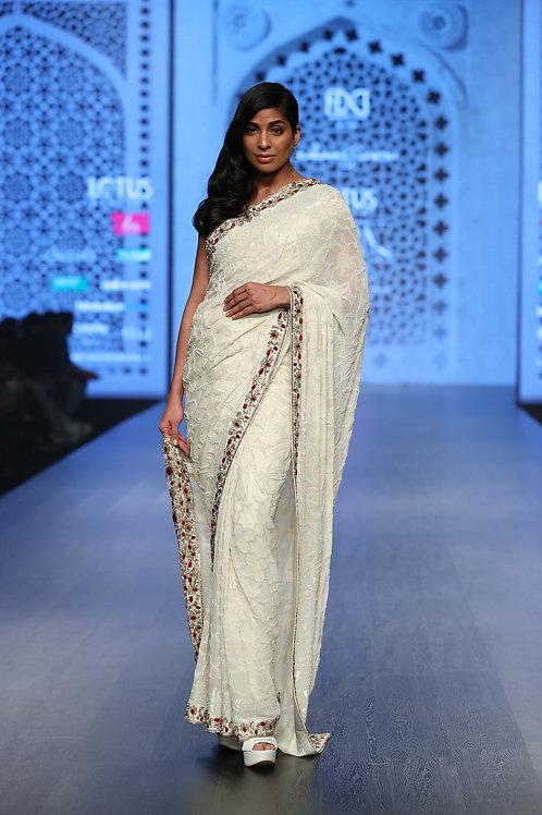 White Sari with Border