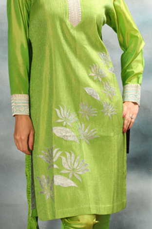 Parrot Green Salwar Suit with Silver Applique WorkA
