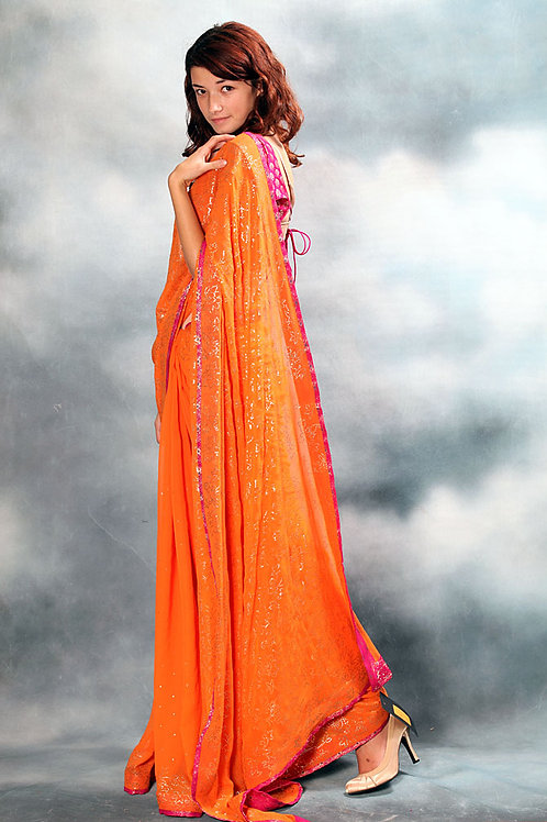 Orange Saree and Rani Pink Blouse