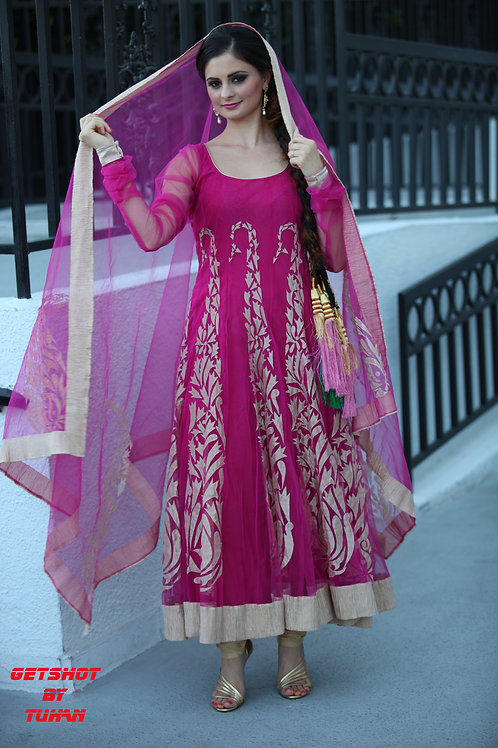 Plum Anarkali Set