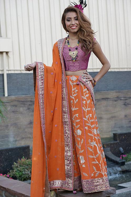 Orange and Rani Pink Lehenga Set