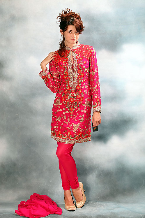Fuchsia Hand Embroidered Suit