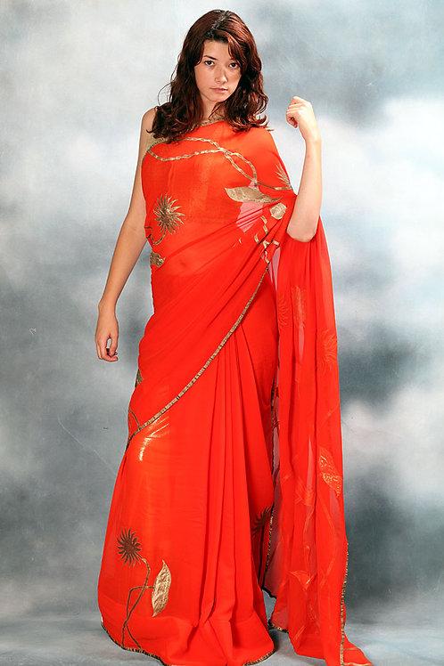 Orange Red Saree