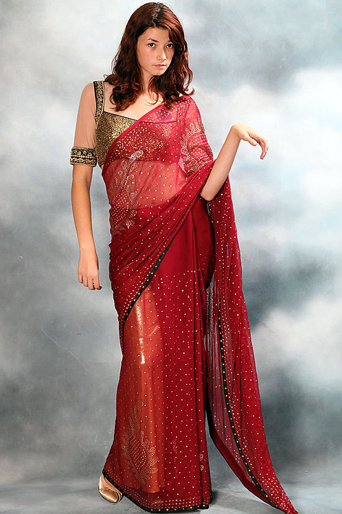 Red Saree with Gold Sequence