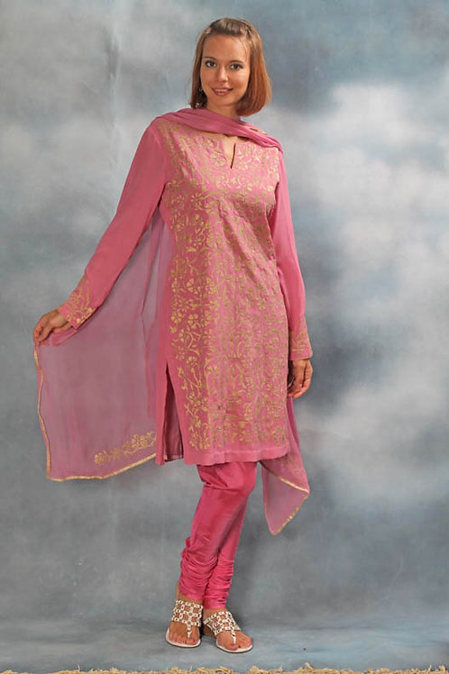Pink and Gold Salwar Suit